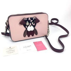NEW Kate Spade Floral Pup Double Zip Crossbody Bag